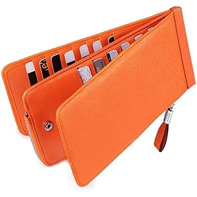 Huztencor 本革二つ折り長財布 カード26枚収納 小銭入れ付き 男女兼用 RFID識別 オレンジ