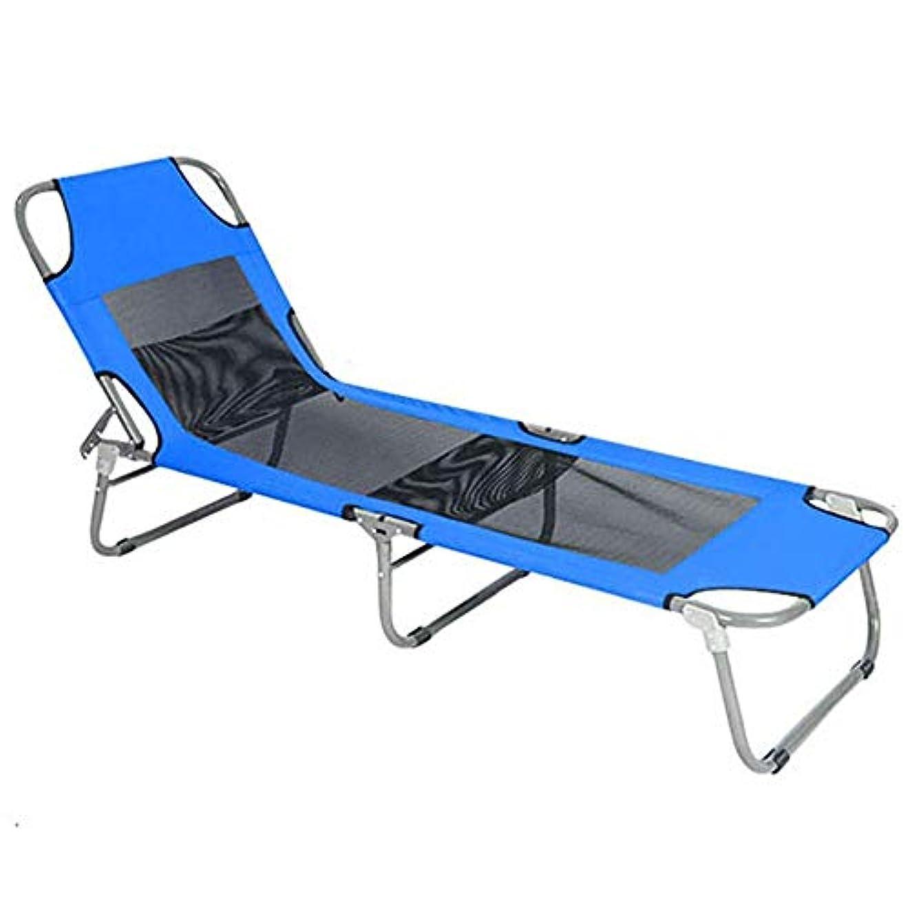 デザートマウスピースピーブ使いやすい アルミキャンプベッド旅行アウトドアキャンプシングルキャンプポータブル軽量ベッド折りたたみホームオフィス休憩折りたたみベッド (色 : 青, サイズ : 190*58*31cm)