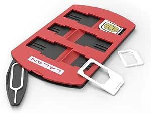 JAPAN AVE. 6枚 収納 可能 SIMカード ケース / 標準 micro nano SIM 変換 アダプター , SIM ピン 付属 カード ホルダー / カードサイズ / リリースピン 整理 紛失 破損 防止