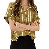 Wyntroy ブラウス 日韓のスタイル かわいいブラウス 縞模様のシャツ 緩い ブラウス 優雅な コットンとリネン 女性用Tシャツ 春夏 半袖 丸首 カジュアルシャツ 小さな新鮮なスタイル 新しいトップをクリア M-4XL