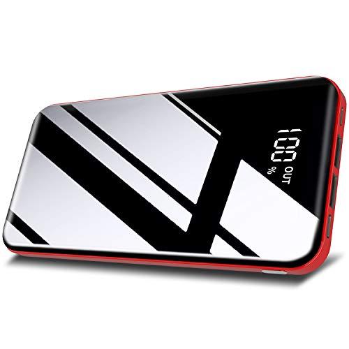 モバイルバッテリー 26800mAh 大容量 【PSE認証済】急速携帯充電器 2USB出力ポート&2入力ポート(MicroとType-C入力ポート)LCD残量表示 鏡面仕上げデザイン 持ち運び便利 iPhone/iPad/Android機種対応