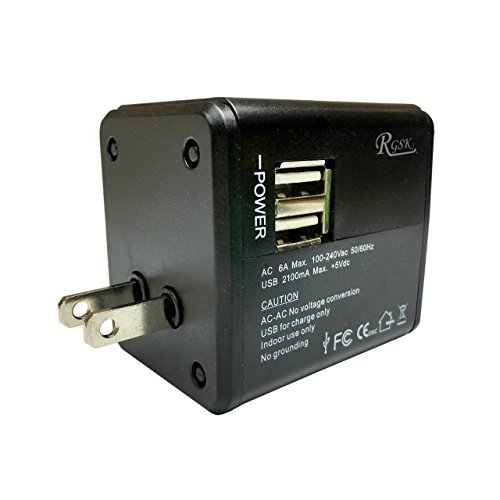 GSK 海外 変換プラグ コンセント 変換 2USB充電器付 スマホ充電 100-240V 150ケ以上対応 海外旅行 便利グッズ (黒)