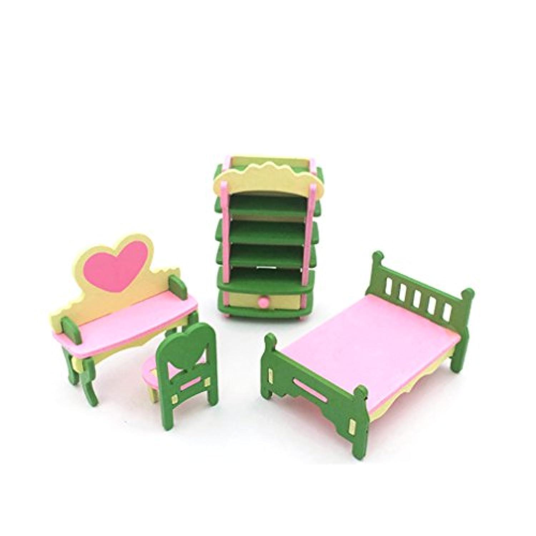 Taiguang 4pcsミニチュア子供子木製ブロックDIYパズルキッチンPlay Houseおもちゃセット Mini Size W1477IR2MK17KUH5Z1