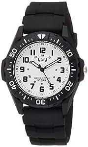 [シチズン キューアンドキュー]CITIZEN Q&Q 腕時計 アナログ スポーツ 10気圧防水 ウレタンベルト ホワイト ブラック VS28-002