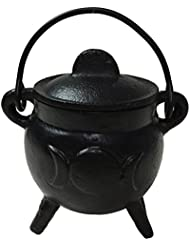 Vrinda Cast Iron Cauldron Burner with Lid Triple Moon