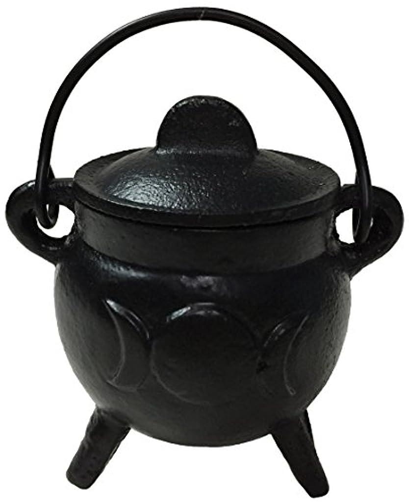 虚栄心ペン認可Vrinda Cast Iron Cauldron Burner with Lid Triple Moon