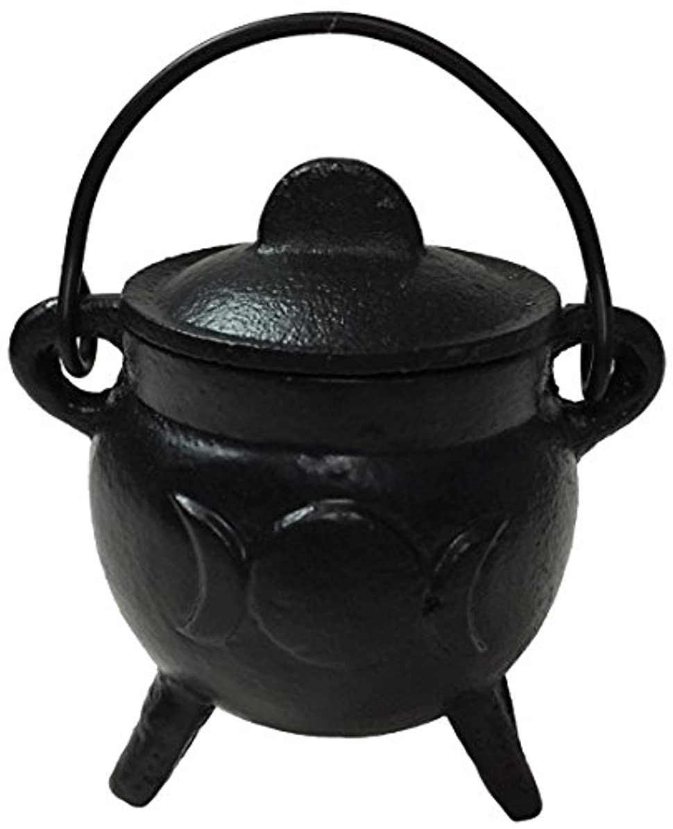 夕暮れ不均一コミュニティVrinda Cast Iron Cauldron Burner with Lid Triple Moon