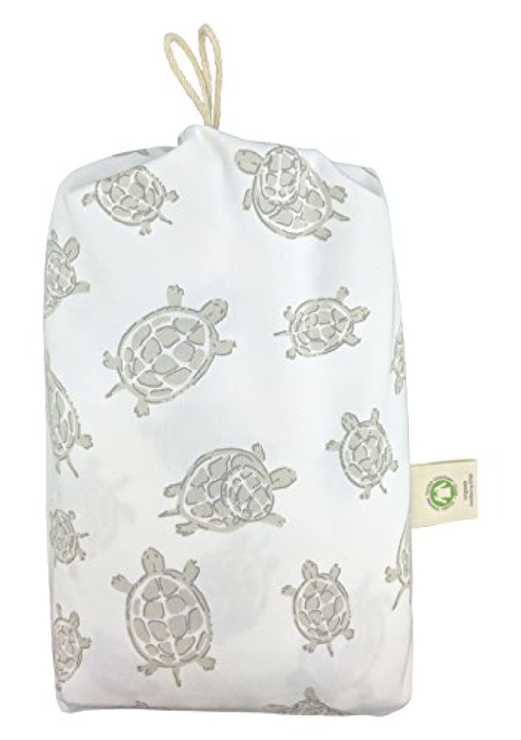 Fitted Crib Sheet in GOTS-Certified Soft Organic Cotton for Baby or Toddler, Turtle Print (Gray) by Dera Design