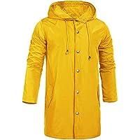 ZEGOLO Men's Jackets Outdoor Waterproof Lightweight Packable Hooded Long Raincoats