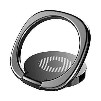 KYOKA スマホ リング ホールドリング 薄型 スタンド機能 落下防止 車載ホルダー 360回転 iPhone/Android各種他対応 (ブラック)