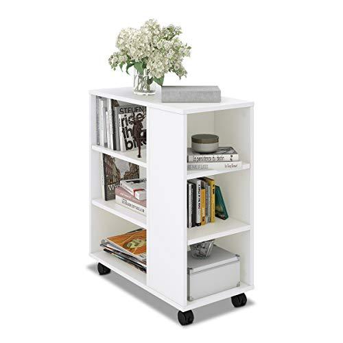 DEVAISE ベッドサイドテーブル サイドテーブル ソファーサイドテーブル 幅600*奥行300*高さ630mm コンパクトサイズ 移動便利 キャスター付き 一年保証 簡単組立 おしゃれ ホワイト WF0021A
