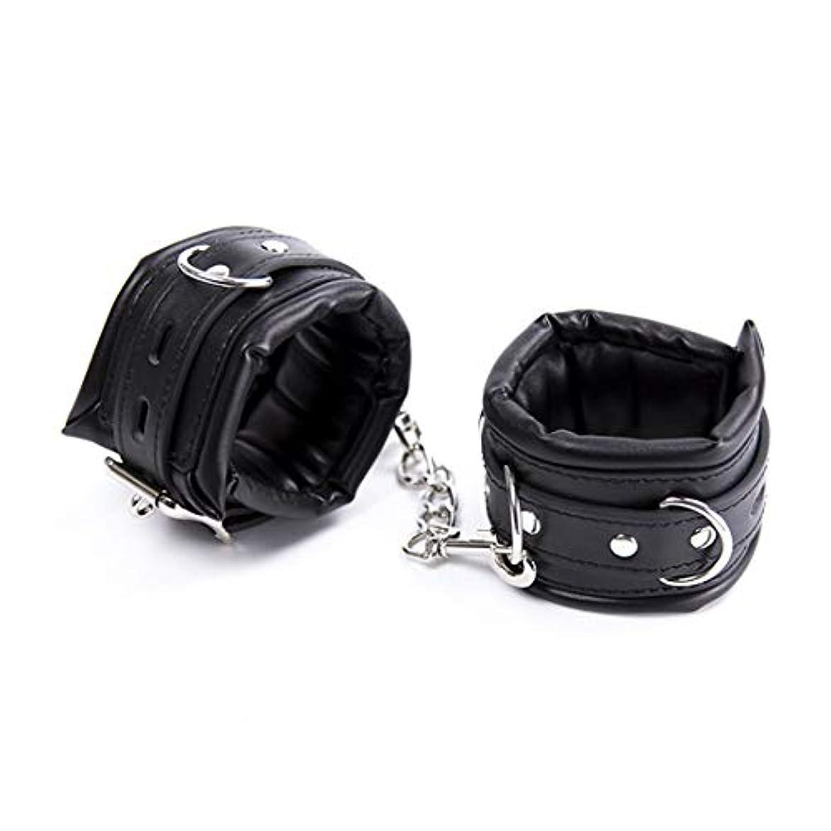 KAKACITY ソフトスポンジレザー手錠縛りボンテージ耐久性調整可能な多機能手錠 (色 : 黒, サイズ : Ankle)