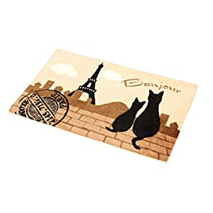 玄関マット お風呂マット 黒ねこ エッフェル 45×70cm ベージュ MR5464ネコ柄