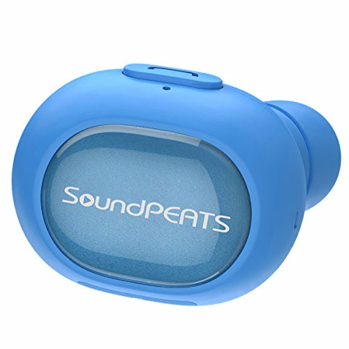 SoundPEATS(サウンドピーツ) Bluetooth ヘッドセット [メーカー直販/1年保証付] Bluetooth イヤホン 片耳 高音質 ミニサイズ 軽量 防滴仕様 マイク内蔵 ハンズフリー通話対応 ワイヤレスヘッドセット D3 ブルー