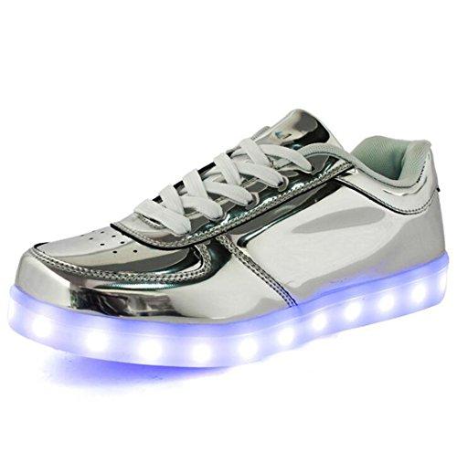 発光シューズ スニーカー 男女通用 USB充電スニーカー ハイカット 光る靴 スポーツシューズ LEDシューズ 光るシューズ LED靴 レディース メンズ 夜光靴 ダンス 银色45