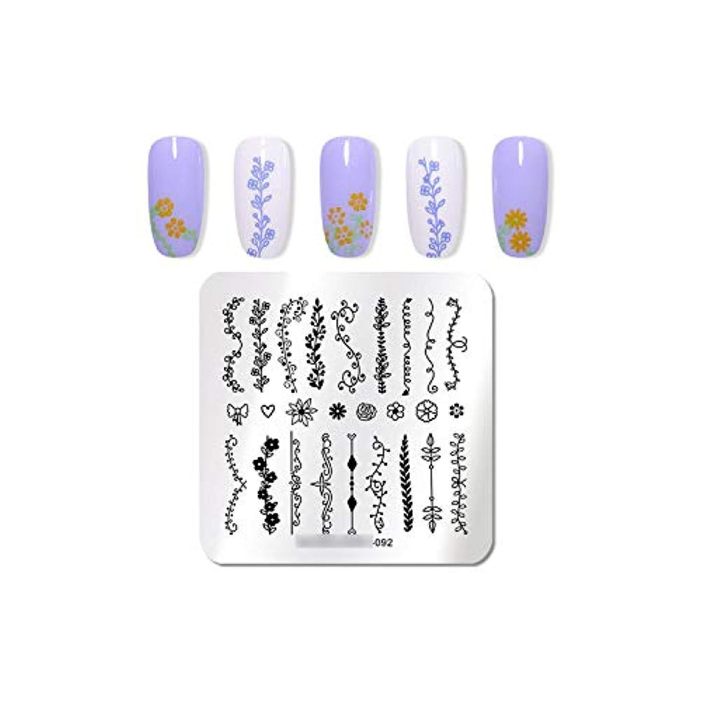 不信ジャンクション太い植物ネイルスタンピングプレートアイスクリームイメージスタンプテンプレート花ネイルアートステンシルマニキュア印刷ツール,92