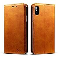 Ruida -au iPhone X 10 Case Vintage Wallet Folding Flip Case with Kickstand, Leather Credit Card Slots