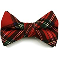 Toddler Baby Boy Red Christmas Plaid Pre-Tied Bow Tie Clip-On