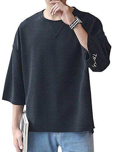[Bolso] メンズ ビッグ Tシャツ 5分袖 7分袖 クルーネック ゆったり シルエット 2色展開(黒、白) M 〜 XXL