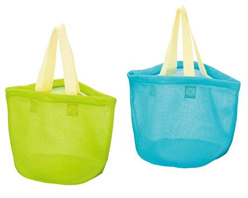 持ち運ぶ 洗濯 干すが簡単に!そのまま洗える洗濯バッグ ランドリーバッグ 2個組(グリーン・ブルー) ファスナー付 メッシュ仕様