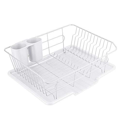 パール金属 食器 水切り かご 水が流れる トレー付 ホワイト タテ置き 白 アルデオ HB-4593