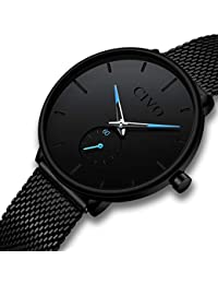 [チーヴォ]CIVO 腕時計薄型 レディース時計ブラック アナログクオーツメッシュ防水ウオッチ シンプルデザイン ステンレススチール おしゃれ ファッション ビジネス カジュアル女性腕時計