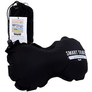SmartTravel ネックピロー 旅行用 機内 車でラクチン エアー インフレータブル クッション 飛行機 腰 枕 まくら (1. ビンテージブラック)