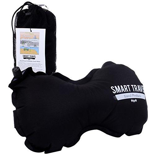 米アマゾン人気 ネックピロー 機内でラクチン インフレータブル クッション 飛行機 旅行 腰 枕 SmartTravel (1. ビンテージブラック)