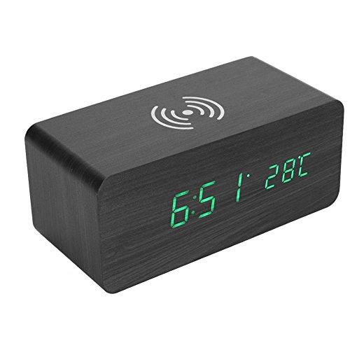 Eboxer LEDクロック 置き時計 LED目覚まし時計 音声制御 QI無線充電 温度計も付き 多機能 家庭装飾 飾り物 5つの色を選ぶことができる (A)