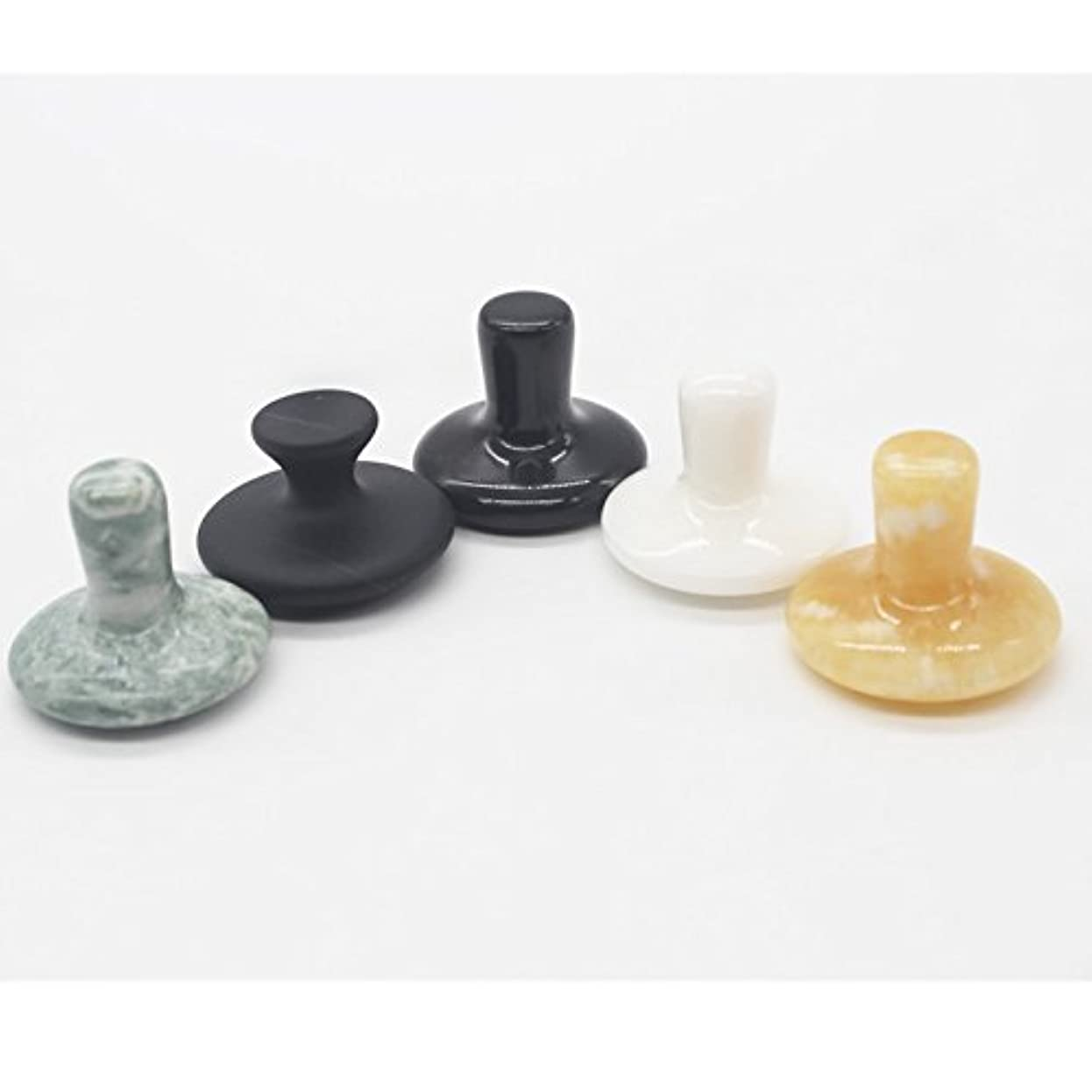 マウントスラック振る舞う5点セット天然石キノコ,しいたけの形状のマッサージ棒 足つぼ?手のひら かっさホットストーンHOT STONES Mushroom shape Natural massage Gua Sha Stone 5 pieces