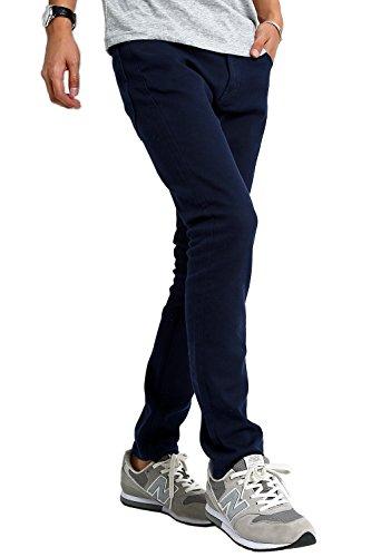 インプローブス チノパン ストレッチ スリム スキニー カラーパンツ メンズ ネイビー XL サイズ