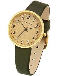 [リラックス]RELAX TIMBER 腕時計 ティンバー 木製腕時計 (ゴールド/グリーン) 本革 レディース RTBW-GBM