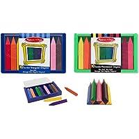 メリッサand DougジャンボTrianguarクレヨン10色と蛍光カラーセット/ for Age 3 +非毒性