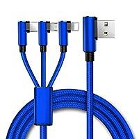 ACHICOO 充電ケーブル USBコネクタ 携帯電話充電ケーブル 3 in 1 リバーシブル マルチマイクロUSB タイプC iPhone用 90度 複数Android用 USB 青
