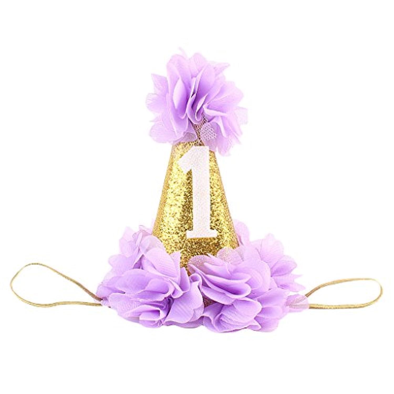 【ノーブランド品】 子供 新生児 パーティー キラキラ 王冠 花 ティアラ ヘッドバンド 髪飾り 全6色 - 紫の, 新生児