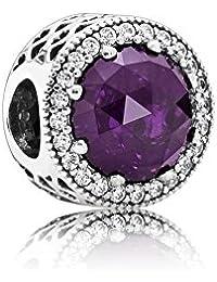 PANDORA Charms Sparking Hearts Charm, Royal Purple
