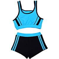 SherryDC Big Girls' Two Pieces Sporty Tankini Bikini Swimwear Bathing Suit with Shorts