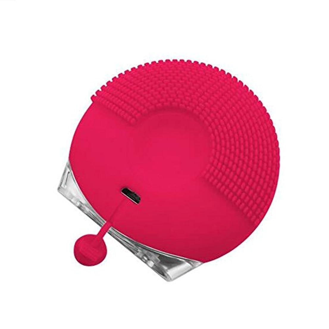 ルーフ良さ抑圧フェイシャルクレンジングブラシシリカゲル超音波3ファイル調整可能な電気USBポータブルマッサージブラシ,赤