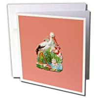 BLNヴィンテージ鳥イラストコレクション – Victorian Stork Carrying a Baby with One Playing in a池 – グリーティングカード Set of 12 Greeting Cards