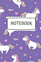 "Notebook: Cute Colorful Unicorn Pattern - (6"" × 9"" in) - Black Lined Paper - Back to School 2019"
