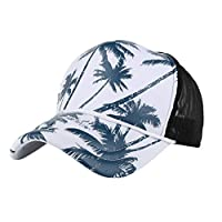 LPKH 帽子 男女兼用の野球帽のココナッツ木の印刷の網ヤーンの調節可能なヒップホップの平らな帽子 (Color : Blue)