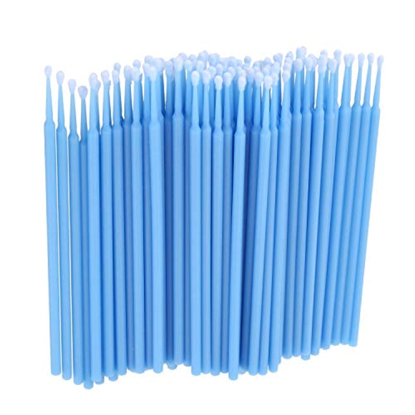 TOOGOO 100個 歯科用マイクロブラシ 使い捨て材料 歯用アプリケーター ミディアムファイン(ライトブルー)