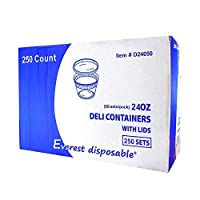 EDI Wholesale 250 Sets Microwavable Translucent Plastic Soup Food Deli Container With Lid (24OZ) [並行輸入品]