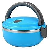 保温弁当箱 ランチジャー ステンレス製 ポータブルバンドル付 持ち運び便利 1.6合・0.7L マットブルー