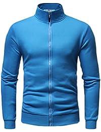 maweisong メンズ軽量ソリッドカラーフルジップスタンドカラースウェットシャツアウトウェア