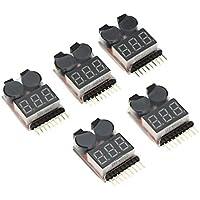 LPZ 5個入り 1-8S インジケーター RC リチウムイオン リポバッテリー テスター 低電圧 ブザー アラーム