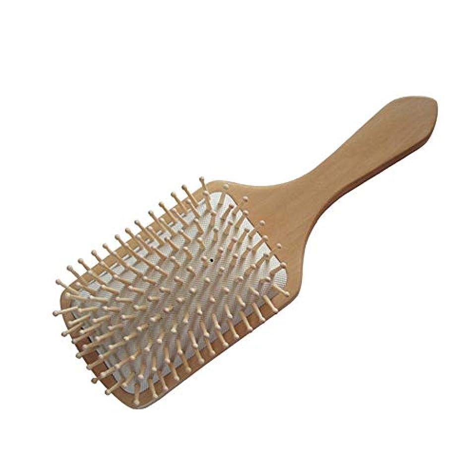 擬人化強化知覚的ヘアーコーム ヘアブラシ、ナチュラルな木製の大きなハンドル、エアバッグマッサージの櫛男性と女性のための、タングル、長く、厚い、カーリー、波状の、乾燥した、損傷した髪のための最高のヘアブラシスタイル 理髪の櫛 (色 : 白)