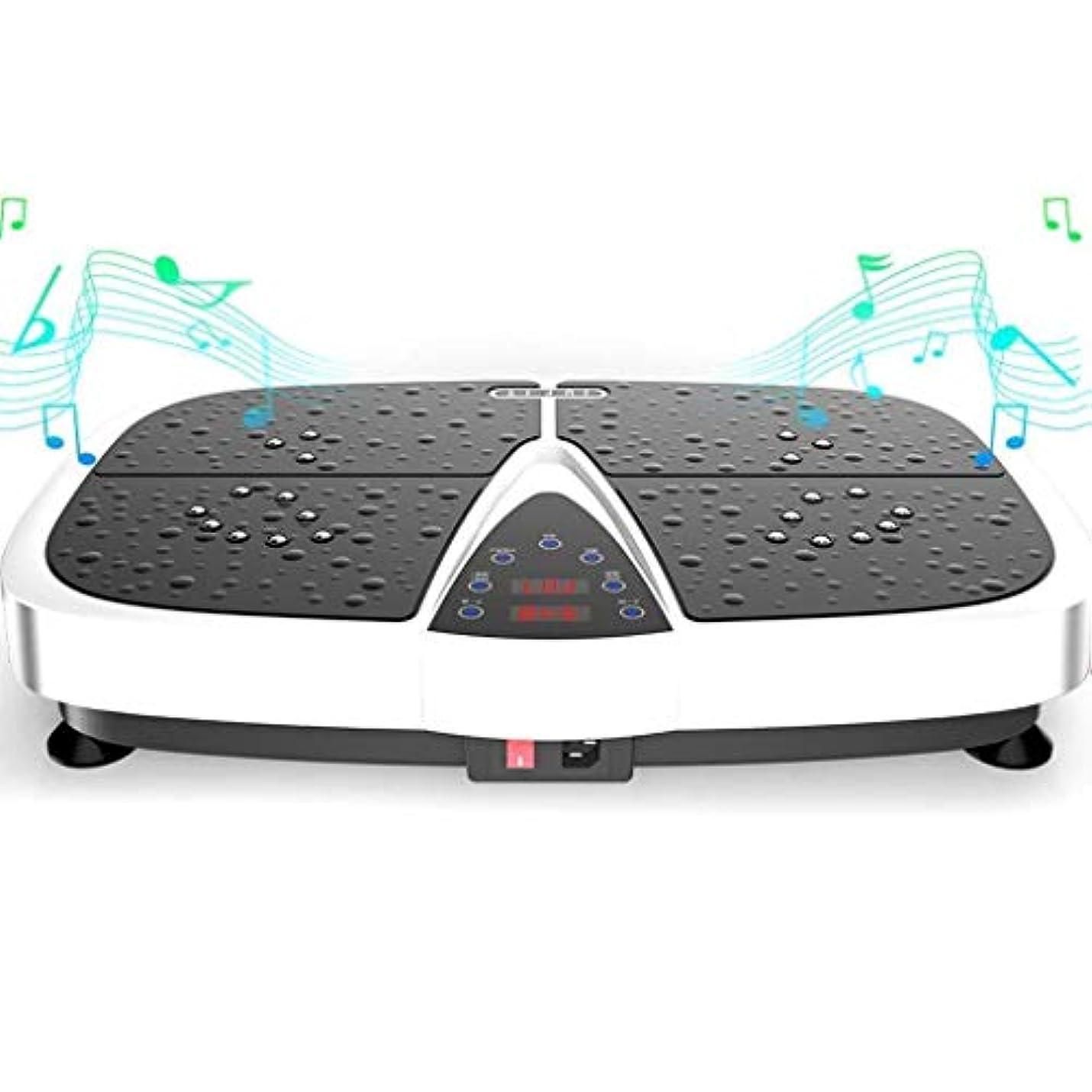 へこみ地元高潔な減量機、スポーツ衝撃吸収フィットネスモデル減量機、Bluetooth音楽スピーカーとリモートコントロール、ユニセックス振動板、家族/ジムに適しています (Color : 白)