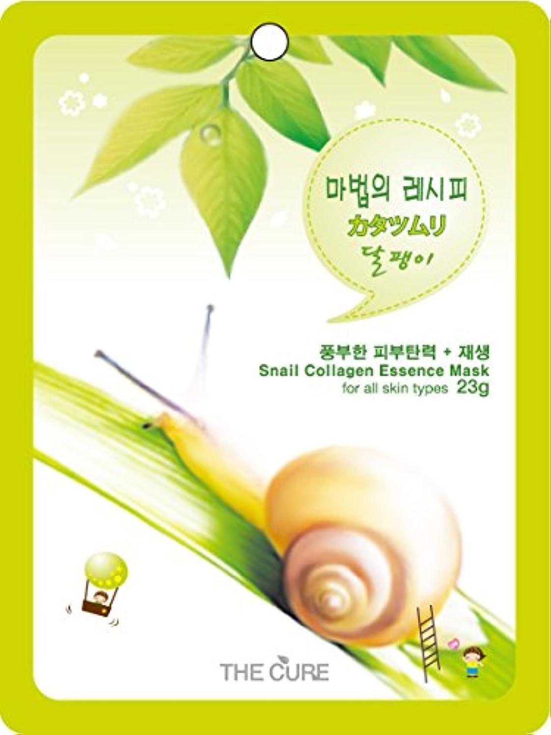 警告するしない絶対にカタツムリ コラーゲン エッセンス マスク THE CURE シート パック 100枚セット 韓国 コスメ 乾燥肌 オイリー肌 混合肌