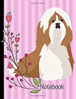 Notebook: Shih Tzu Dog Pink School Composition Notebook 100 Pages Wide Ruled Lined Paper